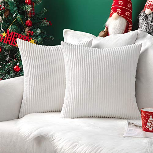 MIULEE Christmas Set of 2 Striped Corduroy Square Throw Pillow Case Soft Cushion Cover Sham Home for Sofa Chair Couch/Bedroom Decorative Fluffy Large Pillowcases Xmas 18x18 Inch 45x45cm Pure White