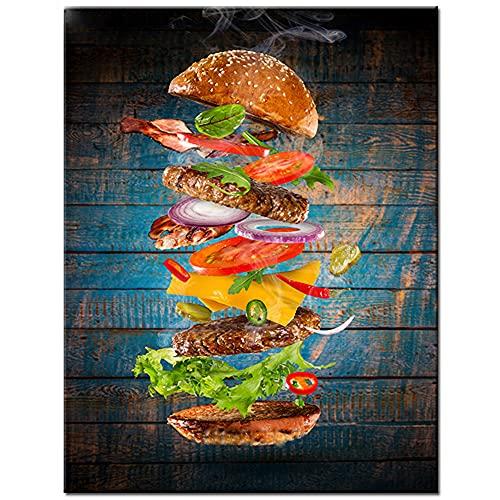 Food Hamburger Kitchen DecorationCanvas Poster,Canvas Print,Canvas Art,Canvas Pictures,Canvas Painting,Oil Painting,Wall Decor,Office Decor,Home Decor 24x36 inch
