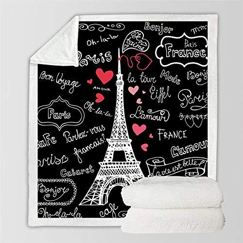 RONGXIE 3D Paris Tower Decke Auf Dem Bett Romantische Buchstaben Sherpa Fleece Decke Herz Plüsch Sofa Plaid Camping Home Bettwäsche