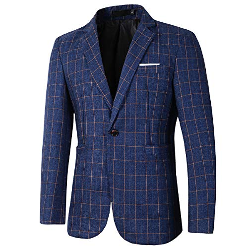 Beninos Mens Casual One Button Slim Fit Plaid Blazer Jacket (771 Blue, S)