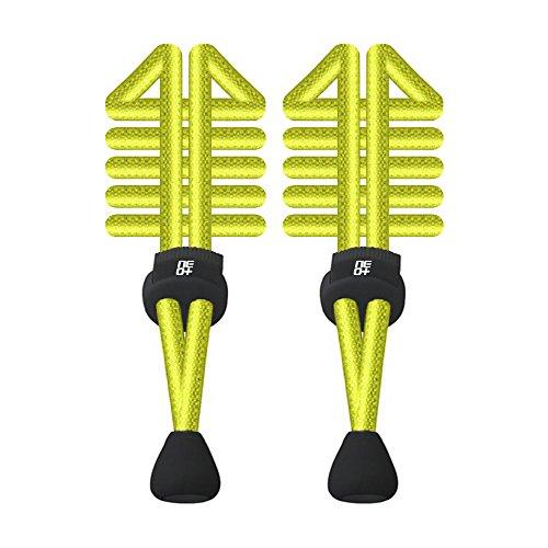 Paquetes de elástico redondo cordones de bloqueo para correr y triatlón–UK vendedor, Bright Yellow,