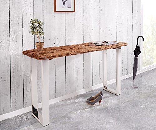 DELIFE Konsolentisch Gravio Altholz Braun 140x40 cm Gestell Edelstahl poliert Konsole