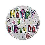 Tapis de souris rond en caoutchouc antidérapant décorations d'anniversaire lettres mignonnes de couleur arc-en-ciel voeux de pétales de fleurs de couronne points multicolores 7.9'x7.9'x3MM