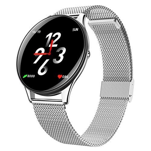 LTLJX Smartwatch, Reloj Inteligente 1.3 Inch con Control de Podómetro Pulsómetro Cronómetro Calorías Monitoreo del Sueño, Pulsera Actividad de Fitness IP67 para Hombre Mujer,Plata
