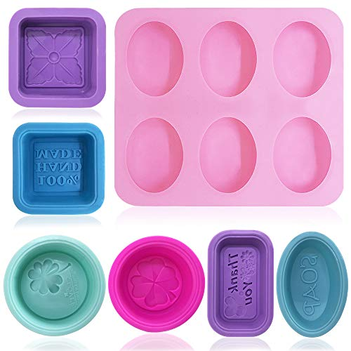 13 Pcs Silicone Oval Molds for Soap Making, FineGood Silicone Soap Molds, Cupcake Muffin Bread Baking Pan Mould for DIY Homemade Craft