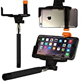 OPTIKAL Selfie Stick, SelfiePAL Wireless Bluetooth Remote Shutter Stick with Mount Clamp for Various Devices (iPhone 6, 6 Plus, 5, 5S, Note 4, 3, HTC One) - Black