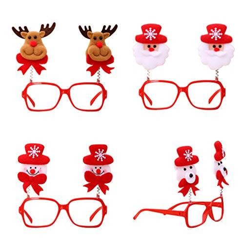 Lumumi 4PC Christmas Cute Cartoon Glasses Frame, Glittered Eyeglasses No Lens Xmas Party Decoration
