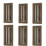 Hartford Ventilation 4' x 10' Floor Vent Covers Brown 6 Pack - Heavy Duty Walkable Floor Registers - Premium Finish - Easy Adjust Air Vent Deflector - Vent Covers for Home - Reinforced Bend-proof Weld