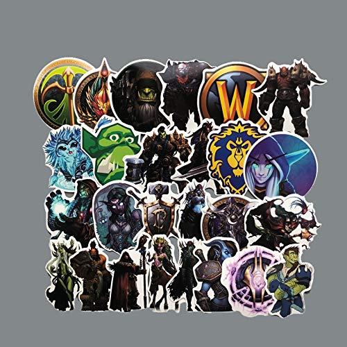 BLOUR 50PCS World of Warcraft Stammesaufkleber für Trolley Rucksack PVC Skateboard Motorradhelm Auto Styling Autozubehör