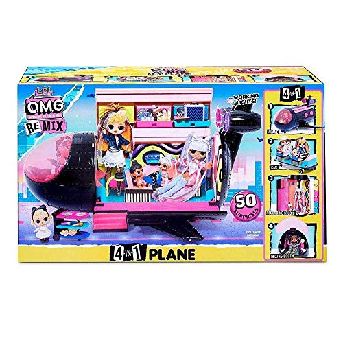 LOL Surprise OMG Remix Avión 4 en 1 , Con 50 sorpresas , Se Transforma en Avión, Automóvil, Estudio de Grabación y Cabina de Mezcla
