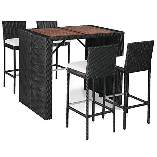 Ensemble de bar de jardin 5 pièces en polyrotin et acacia massif, 1 table basse, 4 tabourets de bar et 4 coussins d'assise, durable et facile à nettoyer