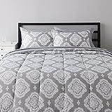 Amazon Basics 8-Piece Ultra-Soft Microfiber Bed-In-A-Bag Comforter Bedding Set - Full/Queen, Grey Medallion