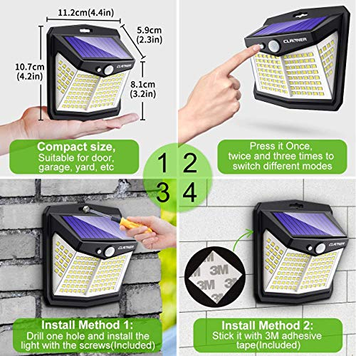Claoner Solar Lights Outdoor, [128 LED/8 Packs] Solar Motion Lights 3 Working Modes Solar Wall Lights with 270°Wide Angle Wireless IP65 Waterproof Motion Sensor Security Lights for Yard Garage Deck