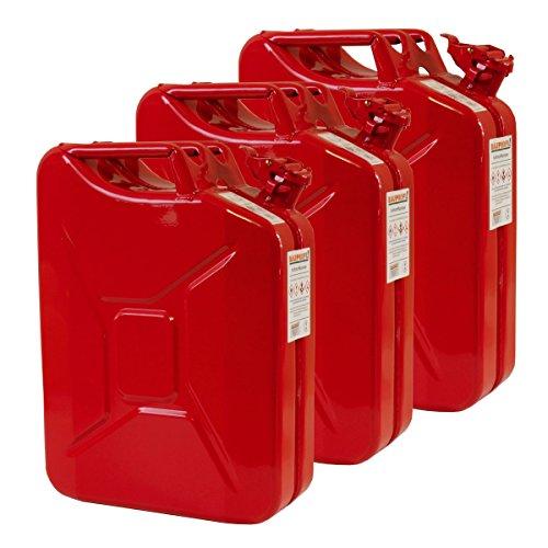 3x 20 Liter Benzinkanister Metall GGVS mit Sicherungsstift rot Blech 3er Set