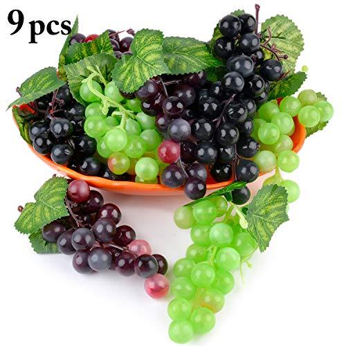 JUSTDOLIFE Künstliche Trauben Deko künstliche Früchte Tischdekoration Obst hängende Ornamente