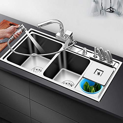 HUSHUN Lavello da cucina incasso in acciaio inox seta lucida con 2 vasca e gocciolatoio seta Con rubinetto