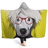 Auld-Shop Manta con Capucha De Perro Amarillo Coral Plush Ultra Plush Sherpa Lined Wear Ropa De Abrigo con Capucha