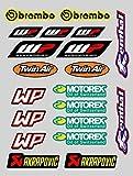 X 20 Pegatinas Stickers Sponsor Compatible con MOTOREX WP AKRAPOVIC IMPRESIÓN Laminado Protector (20 Pegatinas)