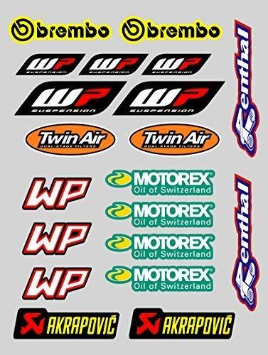 X 20 Aufkleber Aufkleber Sponsor Kompatibel mit Motorex Wp Akrapovic Druck Laminat Schutz (20 Aufkleber)