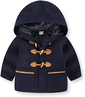 Little Boy Wool Coat Hooded Jacket Kids Baby Winter Toggle Over Coat 2-7t