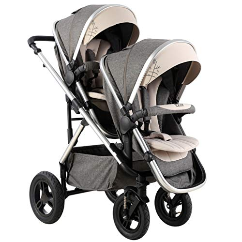 Buy Baby strollers Xinjin Front and Rear Double Seat Detachable Folding with 4 Wheel Suspension, Two...