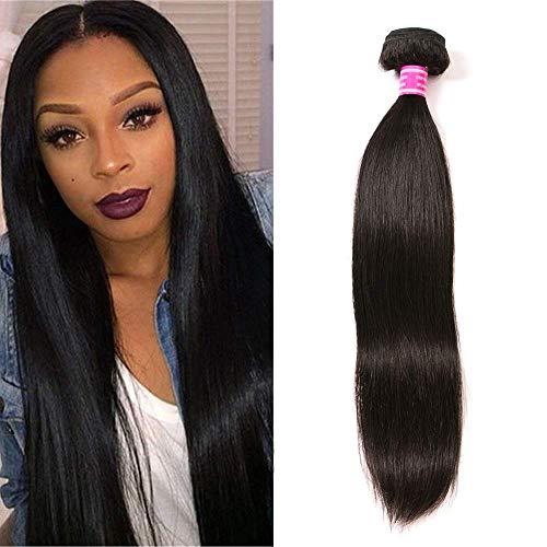 QinMei Brazilian Straight Hair 1 Bundle 10A 100% Virgin Unprocessed Human Hair Weave Extensions Brazilian Remy Straight Human Hair Bundles Natural Black Color (14', 1 Bundle)