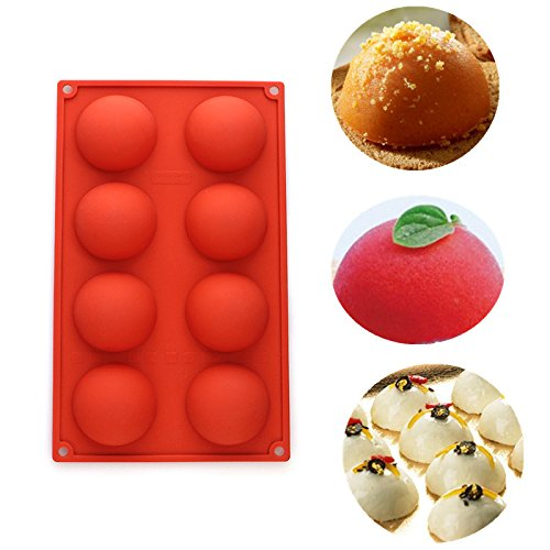 Delidge 8 Cavities Half Circle Silicone Mold for Making Delicate Chocolate Desserts, Ice Cream Bombes, Cakes, Soap, Resin Items, and More,Size:29.6x17.3cm(11.6