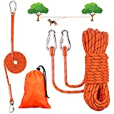 50ft Dog Tie Out Cable for Camping with 6ft Dog Runner Cable Reflective Overhead Trolley System for Dogs up to 200lbs Dog Leads for Yard Park and Outdoor,Orange