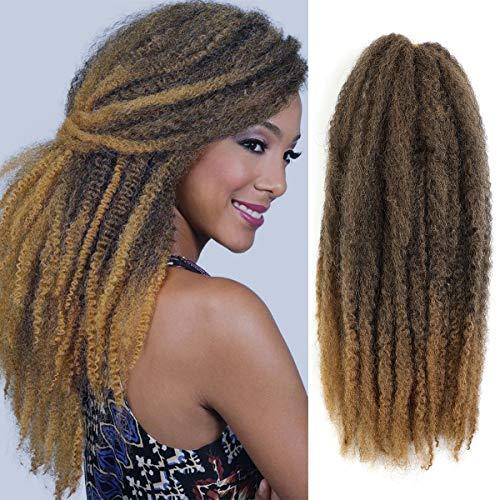 AMELI 6 Packs Marley Braiding Hair for Twists Synthetic Fiber Hair Afro Kinky Hair Marley Braid Hair Extensions (18inch, T27)