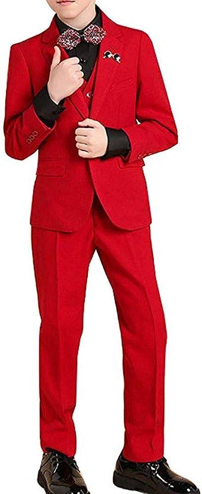 Boy's Red Modern Tuxedo Dresswear Set Infants Tuxedo with No Tail