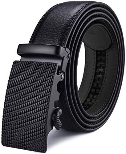 X XHtang Gürtel Herren Automatik Gürtel mit Automatikschließe-3,5cm Breite, Schwarz12, Länge 125cm Geeignet für 37-43 taille