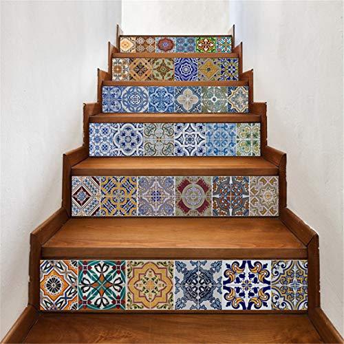 JCNHXD 6Pcs 3D Selbstklebende Treppe Treppenaufkleber Wandtattoo 3D Brick dekorative Aufkleber Ceramic Tile