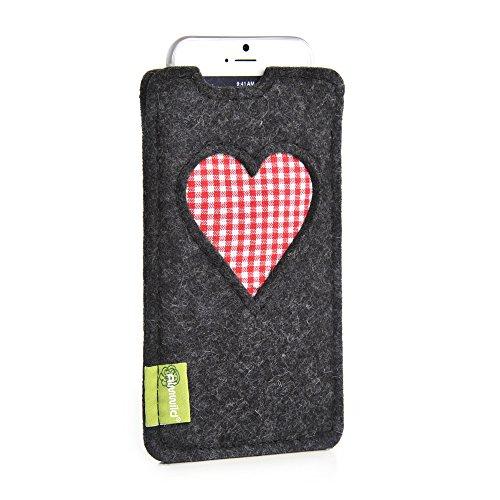 """Almwild® Hülle Tasche für Apple Apple iPhone SE (2020), iPhone 8 MIT Apple Leder Case/Silikon Case. Modell """"Gschbusi"""" in Schiefer- Grau, Schwarz. Handyhülle handgefertigt in Bayern"""