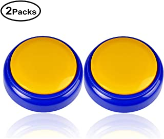 Cover Talking Button Record & Playback Your Own Message 30 Second Custom Recordable , Easy Sound Recorder Set of 2 (Yellow-Bule)