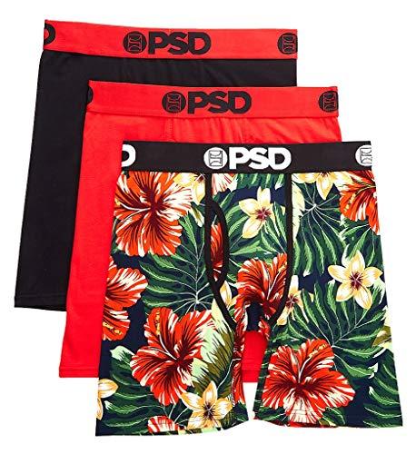 PSD Herren Boxershorts E - Modal 3er-Pack Floral - Rot - Medium