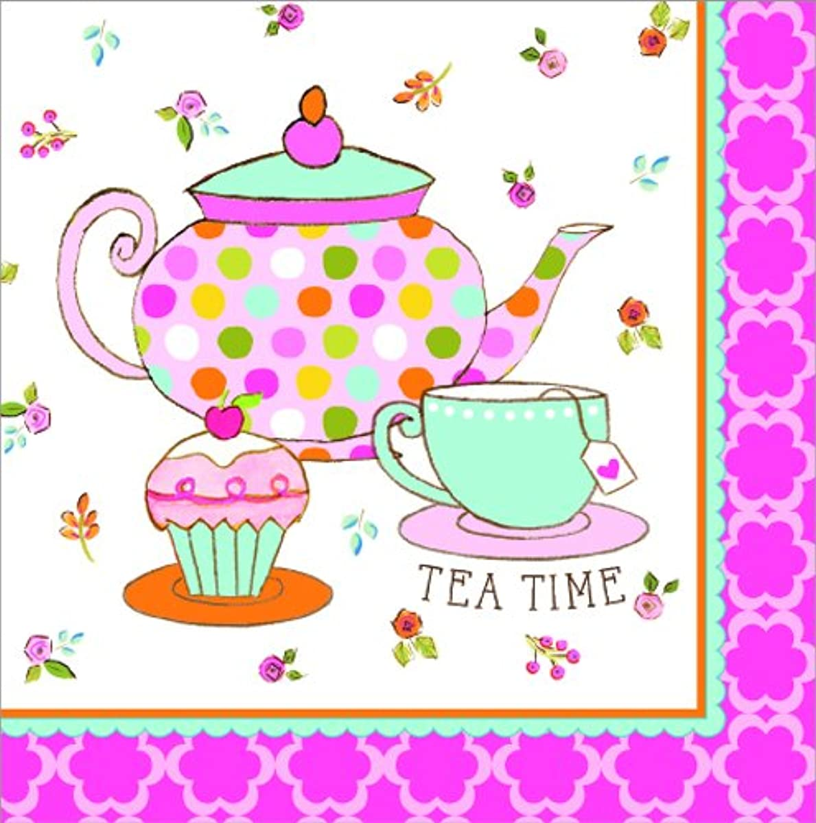Creative Converting 16 Count Lunch Napkins, Tea Time