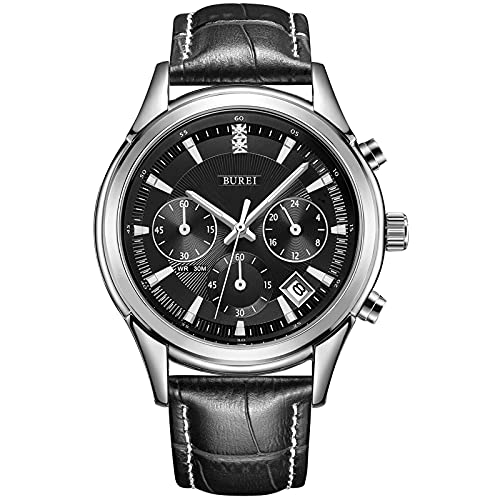 BUREI Elegant Men's Chronograph Watch with Date 41mm Black Leather Quartz Watch Stainless Steel Case Casual Sport