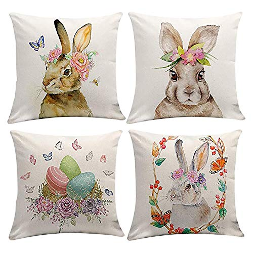 4 fundas de cojín de Pascua, decoración cuadrada, con conejo, de lino, para sofá, coche, dormitorio, hogar, decoración