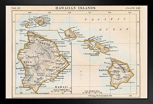 Hawaiian Islands 1883 Historical Antique Style Map Black Wood Framed Art Poster 20x14