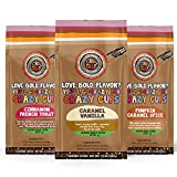 Crazy Cups Decaf Flavored Ground Coffee Variety Pack, Includes Cinnamon French Toast, Caramel...
