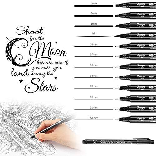 Fineliner penne, 12 Pezzi Nero Pigment Liner Micro Penne, Calligrafia Pennarelli, Fine Line Point per Schizzi Disegno Comic Manga Scrapbooking