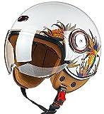 Medio Casco Motocicleta 3/4 Casco De Cara Abierta Visera Para El Sol Hebilla De Liberación Rápida Aprobado ECE Ciclismo Moto Scooter Motocross Trajes Hombres Mujeres Cap Helmet 1,M