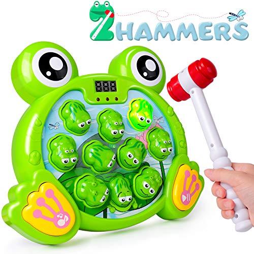rolimate Giocattolo di Martellamento Whack-A-Frog Game, Giocattoli Musicali Giochi interattivi, Aiuta Abilità Motorie Coordinazione Occhio-Mano, Giocattolo Divertente per 3 4 5 6 Anni Ragazzo Ragazza