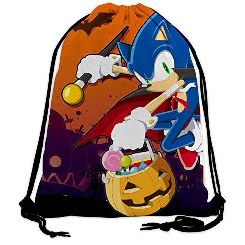 Halloween so-nic 7 Drawstring Bag Lightweight Sackpack for Women Men Kids School