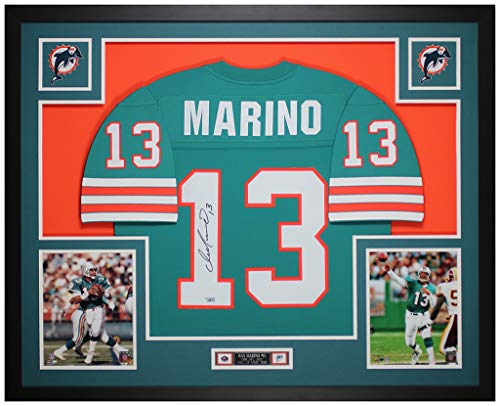 Dan Marino Autographed Teal Miami Dolphins Jersey - Beautifully Matted and Framed - Hand Signed By Marino and Certified Authentic by Fanatics - Includes Certificate of Authenticity