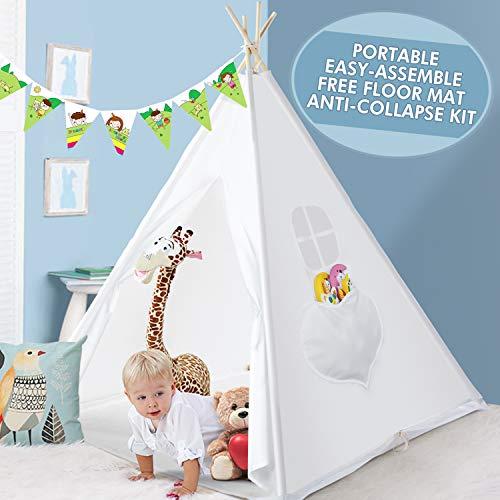Peradix Speeltent Tipi-tent voor kinderen - indoor en outdoor tipi-speeltent 150 cm hoog - Tipi Indische tent voor jongens en meisjes, katoenen canvas kindertent met hoekbescherming (wit)