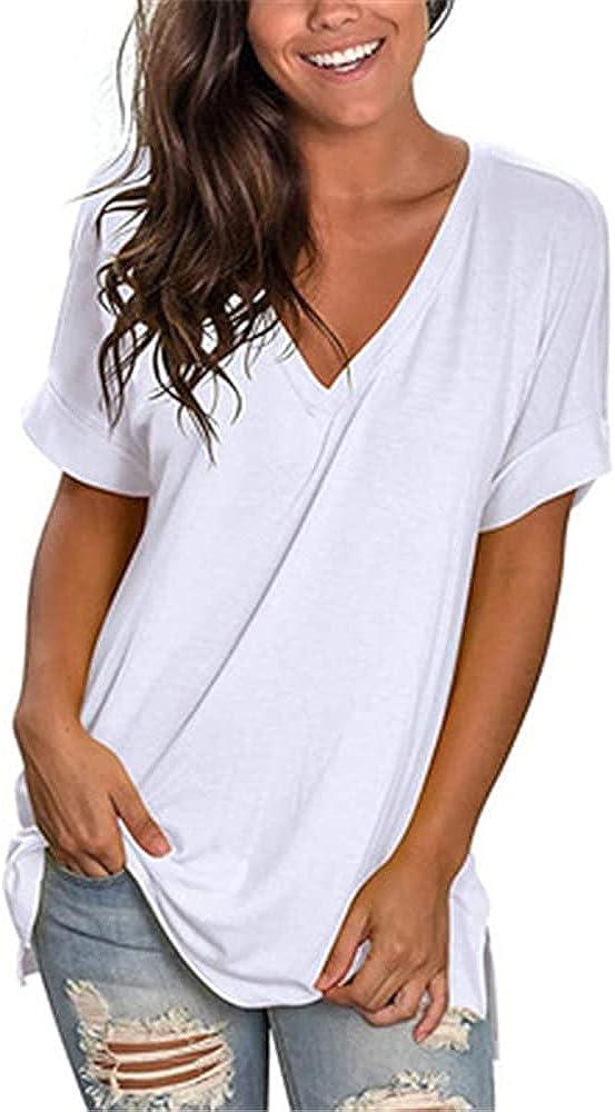 PRJN Camisetas de Mujer Tops de Verano Camiseta de Manga Corta con Cuello en V Tops básicos Casuales Blusa de Color sólido para Mujer Manga Corta Camisetas de veranocon Tops de túnica de Color sólido
