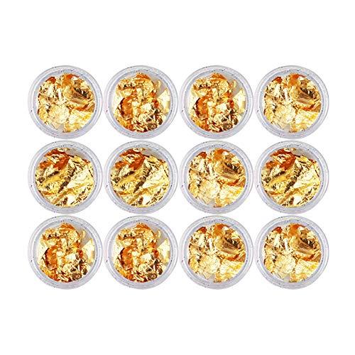 RIsxffp 12Pcs Autocollant d'ongle Papiers dorés à l'argent Autocollants Ongles Gel UV Acrylique DIY Décor de Manucure Gold And Silver