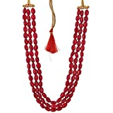 Ratnagarbha 3 Layer Ruby Smooth Oval Shaped Strand Beads Mala/Necklace, Long Necklace, Ruby Red Color, Daily,Party,Office,Casual,Wedding Wear Jewelry for Women/Girls, Wholesale Price.