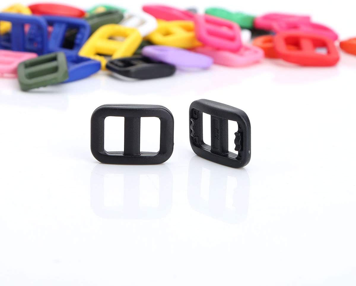 50 pezzi per collari per animali domestici zaini Inhzoy Confezione da 50 fibbie regolabili in plastica da 10 mm colori misti cinture bagagli